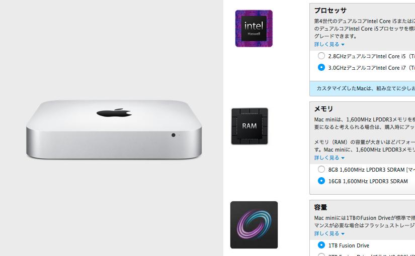 ニーハオ Mac mini Late 2014 ちゃん